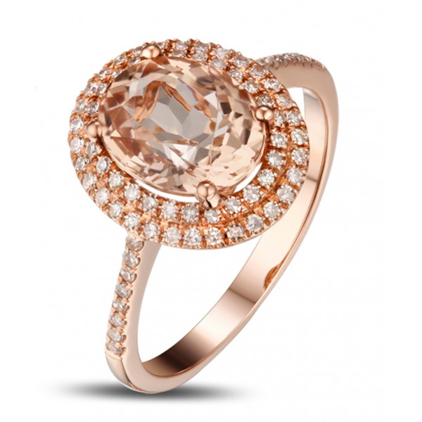 Luxurious 2.50 Carat Morganite and Diamond Engagement Ring for Women in Rose Gold