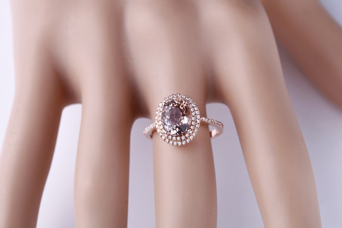 Luxurious 2 50 Carat Morganite And Diamond Engagement Ring