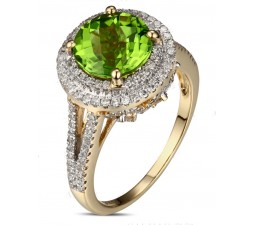 2 Carat Emerald and Diamond Halo Engagement Ring in Yellow Gold