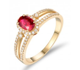 Unique 1 Carat Ruby and Diamond Halo Engagement Ring in Yellow Gold