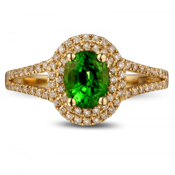 Unique 1 Carat Emerald and Diamond Halo Engagement Ring in Yellow Gold