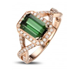 Infinity 2 Carat Emerald and Diamond Engagement Ring for Her in Rose Gold