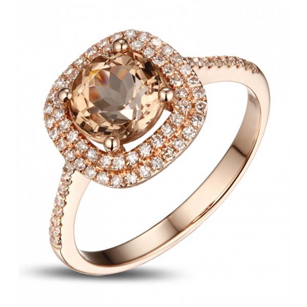 Luxurious 2 Carat Double Halo Morganite and Diamond Rose Gold Engagement Ring for Women