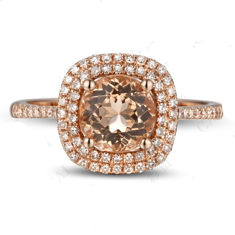 Luxurious 2 Carat Double Halo Morganite and Diamond Rose Gold Engagement Ring