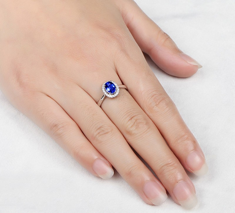 1 50 Carat Sapphire And Diamond Halo Engagement Ring In