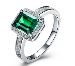Classic  1.50 Carat Emerald and Diamond Engagement Ring in White Gold