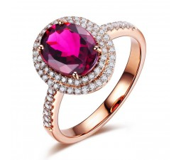 Designer 2 Carat Pink Sapphire and Diamond Halo Engagement Ring in Rose Gold