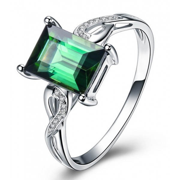 Unique 1 50 Carat Emerald and Diamond Infinity Engagement Ring in White Gold