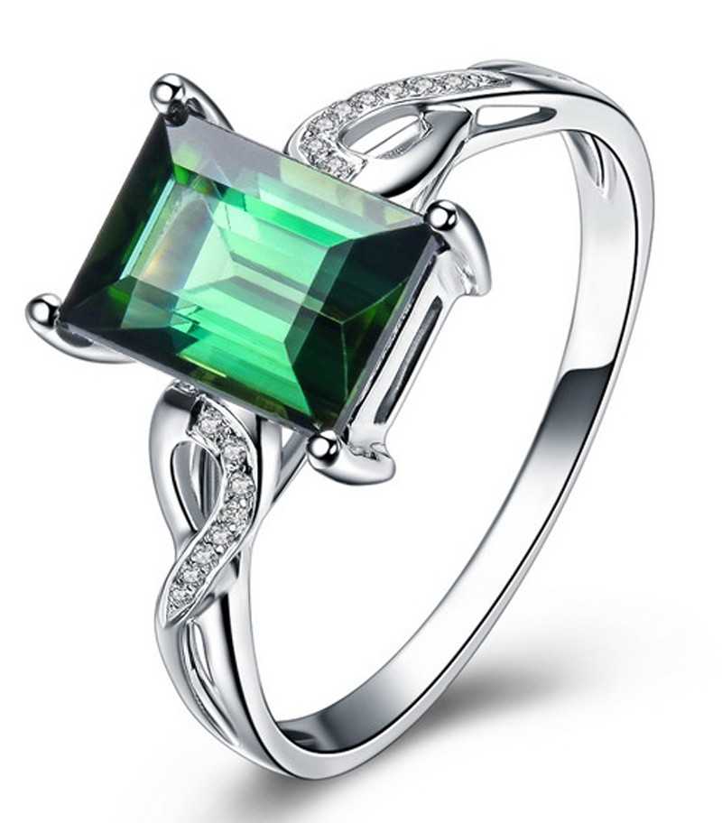 unique carat emerald and diamond infinity engagement ring in white gold jeenjewels. Black Bedroom Furniture Sets. Home Design Ideas