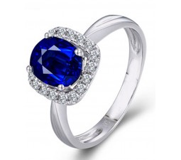 1.50 Carat Sapphire and Diamond Halo Engagement Ring in White Gold for Her