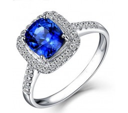 2 Carat Classic oval cut Sapphire and Diamond Halo Engagement Ring in White Gold