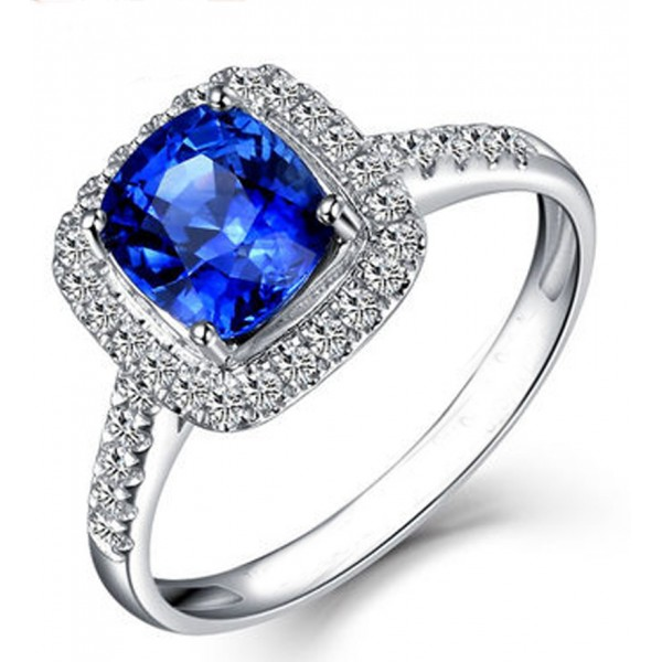 2 Carat Classic oval cut Sapphire and Diamond Halo Engagement Ring in White G