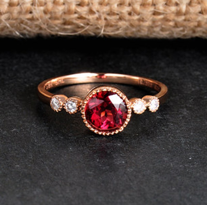 1 Carat Ruby and Diamond Antique Engagement Ring in Yellow Gold