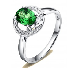 Unique 1 Carat Emerald and Diamond Halo Engagement Ring with floral design