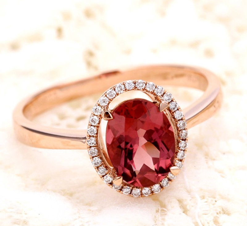 Halo 1.50 Carat Red Oval Cut Ruby And Diamond Engagement