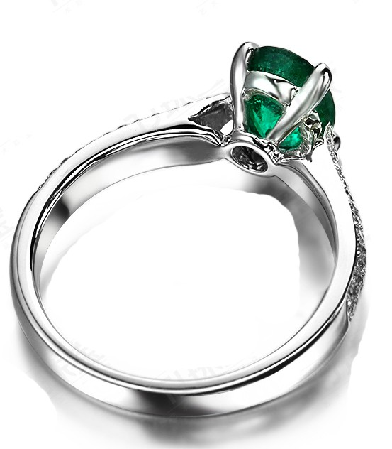 Luxurious 2 Carat Green Oval Emerald and Diamond Engagement Ring in White Gol