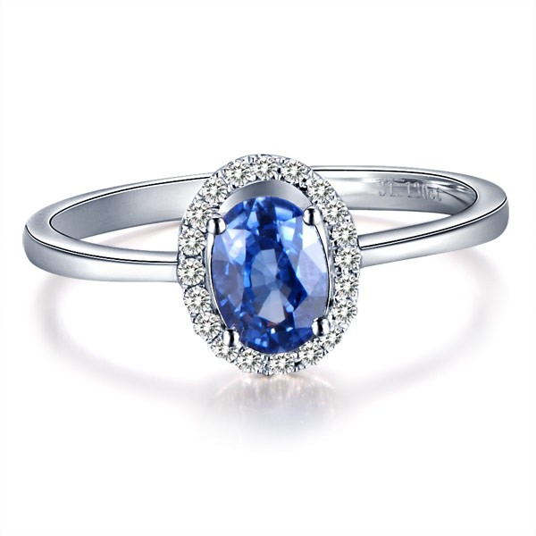 Sapphire with Diamond Engagement Ring on 9ct White Gold JeenJewels