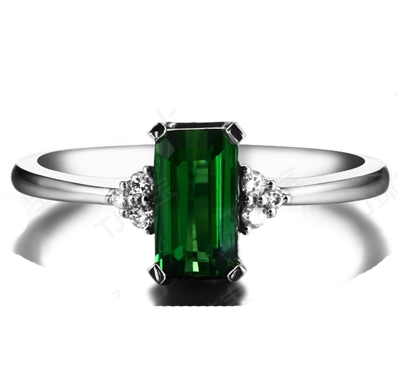 1 50 Carat Green Emerald And Diamond Engagement Ring For Her In White Gold