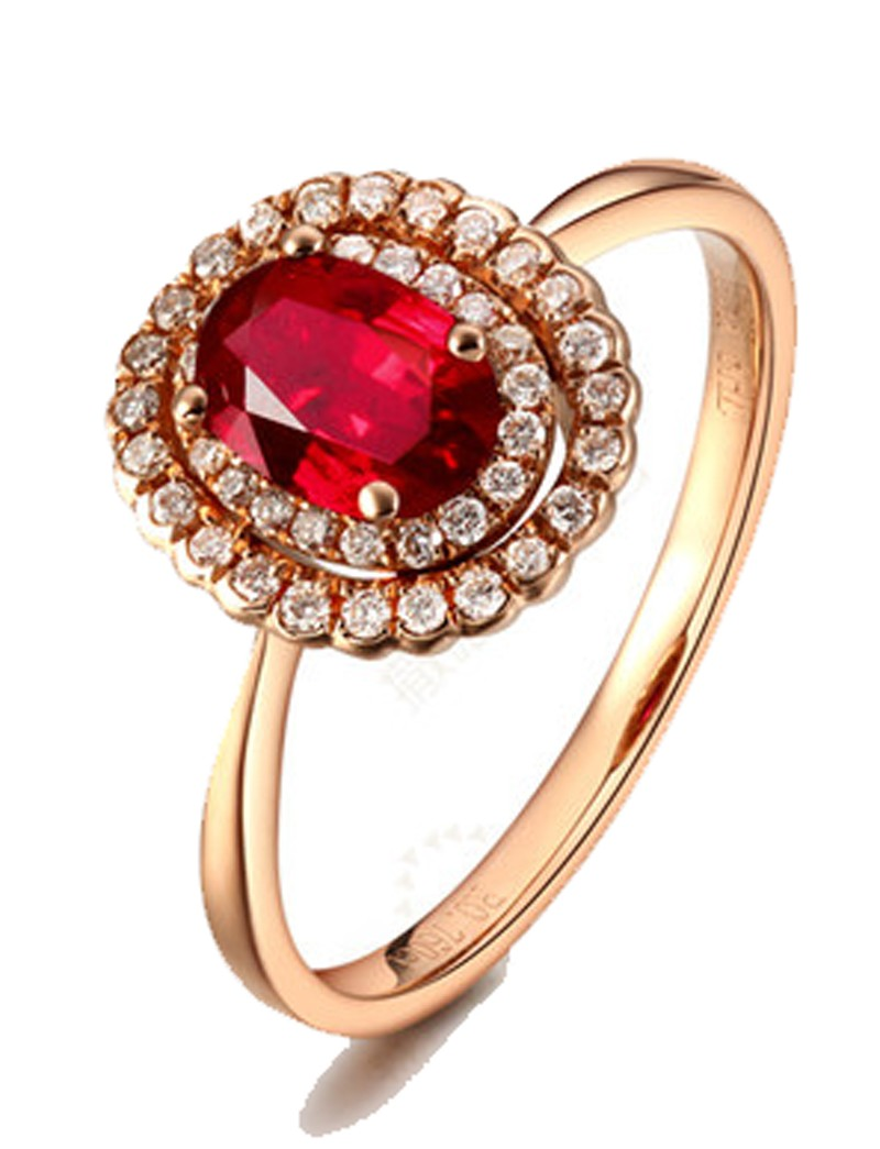 Double Halo 1 Carat Ruby and Diamond Engagement Ring in Yellow Gold