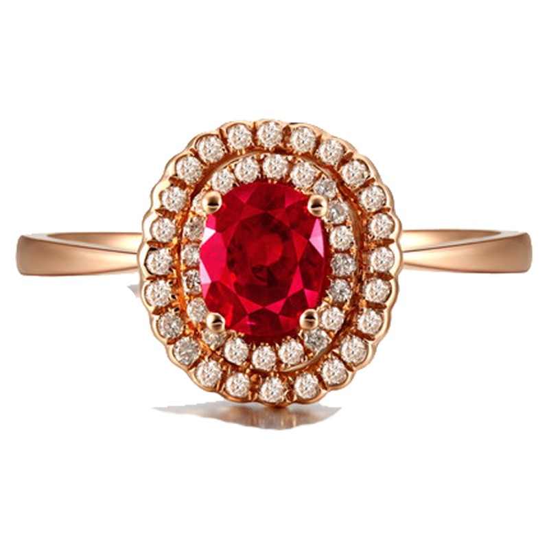 Double Halo 1 Carat Ruby And Diamond Engagement Ring In