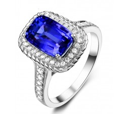 Perfect 2 Carat cushion cut Blue Sapphire and Diamond Antique Engagement Ring in White Gold