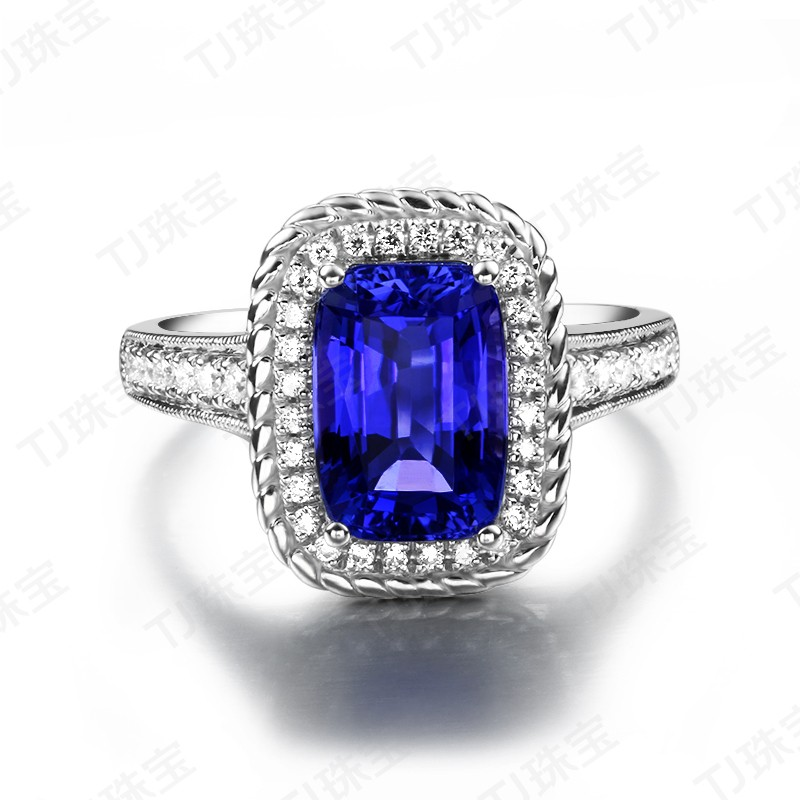 Perfect 2 Carat cushion cut Blue Sapphire and Diamond Antique Engagement Ring