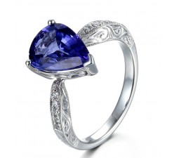 Unique 2 carat Pear shape Blue Sapphire and Diamond Antique Engagement Ring in White Gold