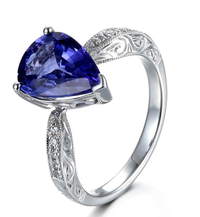 Unique 2 Carat Pear Shape Blue Sapphire And Diamond
