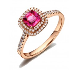 Superb 1.50 carat cushion cut Ruby and Diamond double Halo Engagement Ring in Rose Gold