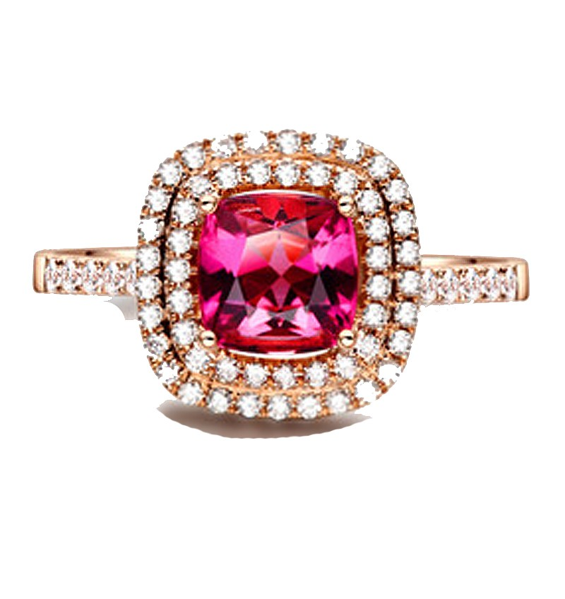 Superb 1 50 Carat Cushion Cut Ruby And Diamond Double Halo