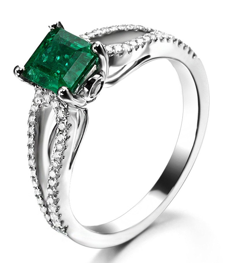Perfect twin row 2 Carat Princess cut Emerald and Diamond Engagement Ring in