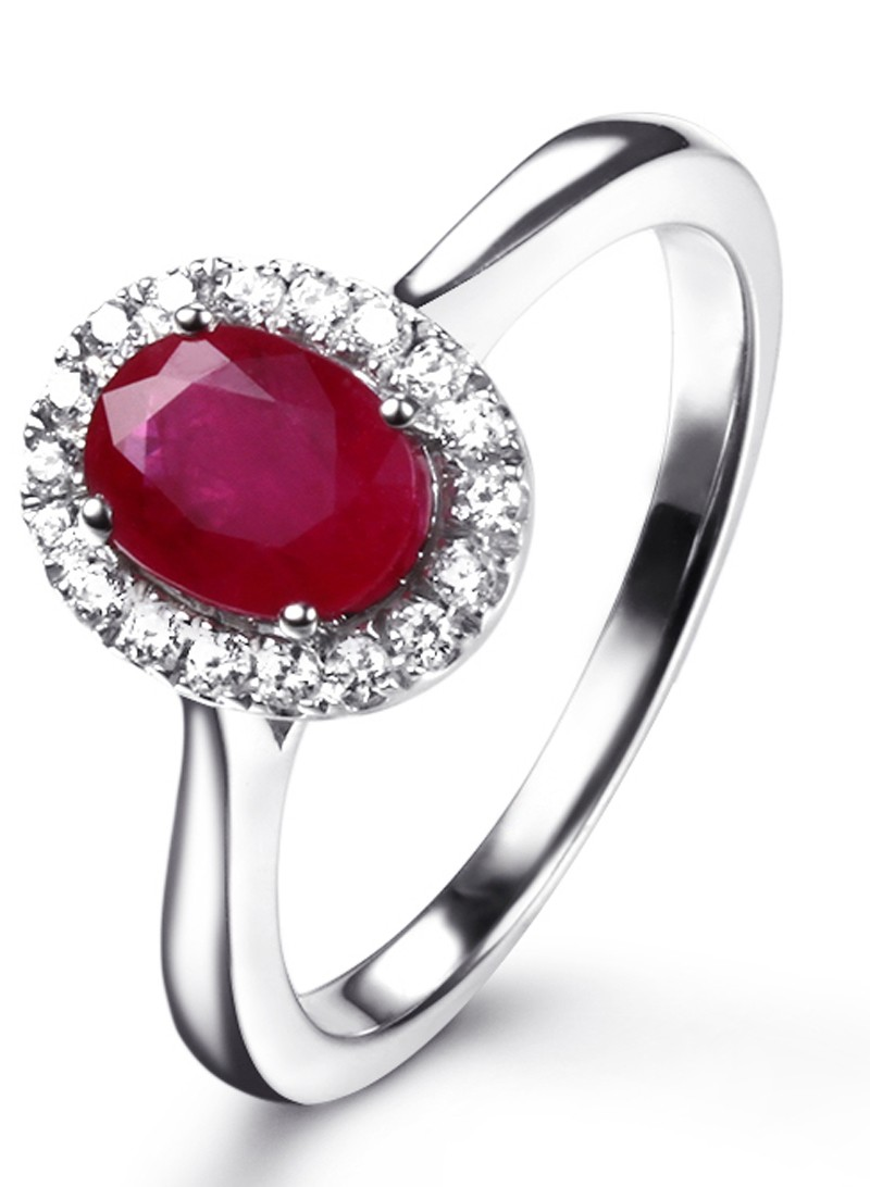 Classic 1 Carat Ruby And Diamond Halo Engagement Ring In White Gold For Women