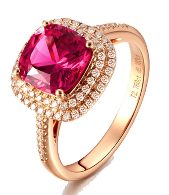 2 Carat Cushion Cut Ruby And Diamond Halo Engagement Ring In Yellow