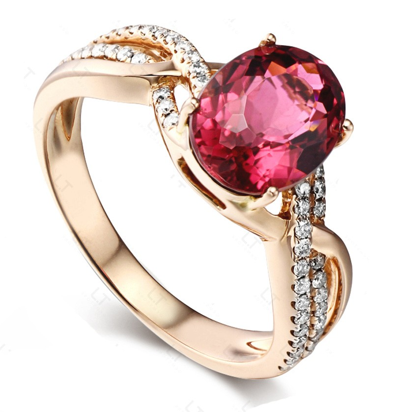 Infinity 2 Carat Pink Sapphire and Diamond Engagement Ring in