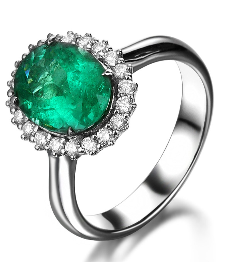 Beautiful 1 50 Carat oval shape Emerald and Diamond Halo Engagement Ring in W
