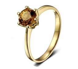1 Carat Solitaire Yellow Sapphire Engagement Ring in Yellow Gold for Her