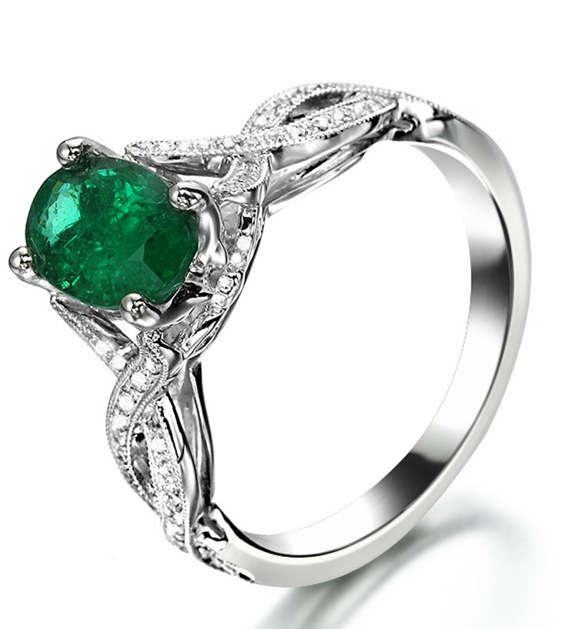 Infinity design 2 carat emerald and diamond curved for Emerald and diamond wedding ring