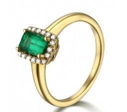 Affordable 1 Carat Emerald and Diamond Halo Engagement Ring in Yellow Gold