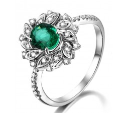 Antique Floral 1.50 Carat Emerald and Diamond Engagement Ring in White Gold