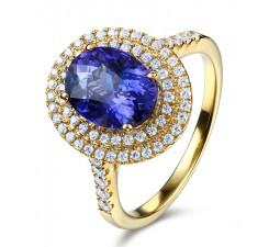 Designer 3 Carat Double Halo Sapphire and Diamond Engagement Ring in Yellow Gold