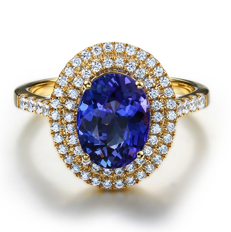 Designer 3 Carat Double Halo Sapphire And Diamond