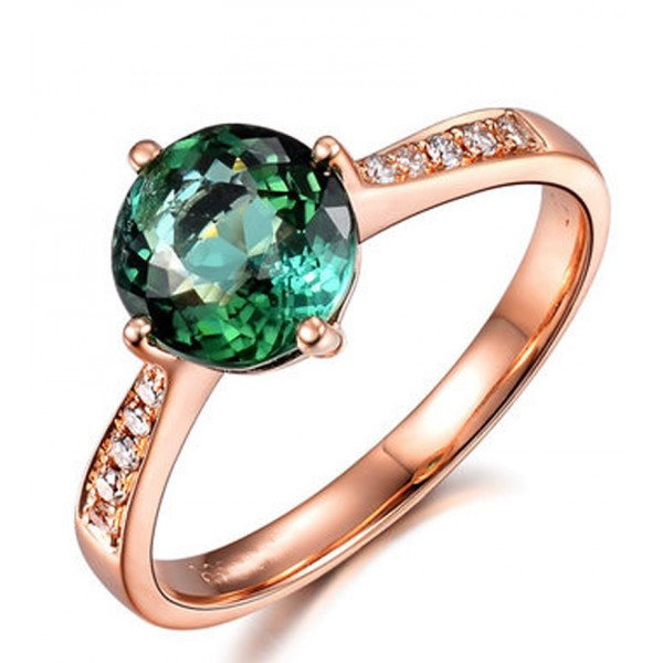Classic 1 Carat Green Emerald and Diamond Rose Gold Engagement