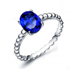 Antique 1 Carat Blue Sapphire Solitaire Engagement Ring in White Gold for Her