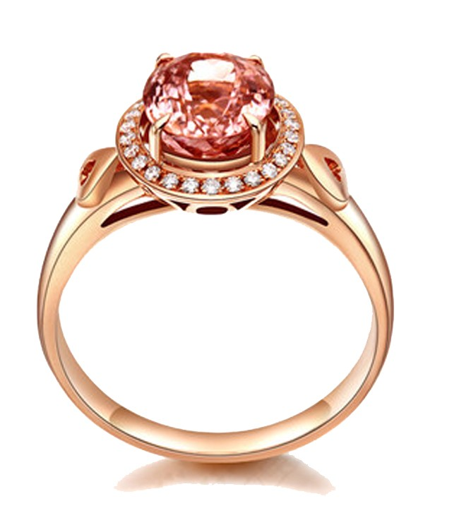 2 Carat Morganite and Diamond Engagement Ring for Women in Rose Gold JeenJe