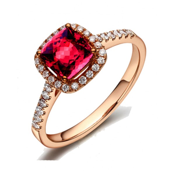 1 Carat Ruby And Diamond Antique Engagement Ring In Rose