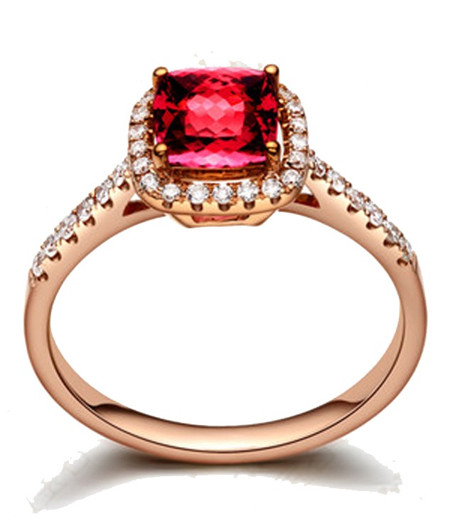 1 Carat Ruby and Diamond Antique Engagement Ring in Rose Gold JeenJewels