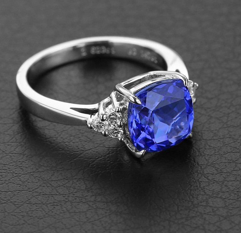 1 50 Carat Blue Sapphire And Diamond Halo Engagement Ring