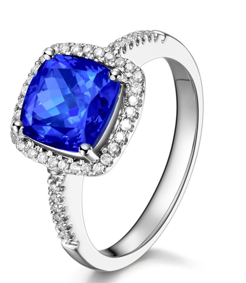 2 Carat Cushion Cut Blue Sapphire And Diamond Halo