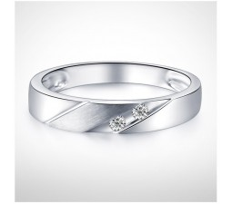 3mm Men Diamond Wedding Band on 10k White Gold