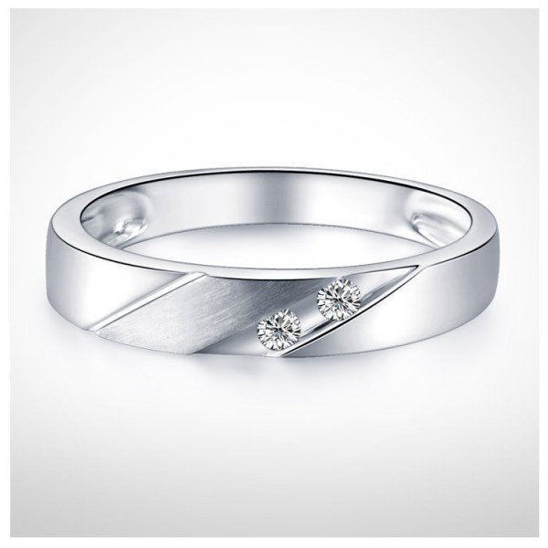Men Diamond Wedding Band 3mm On 9ct White Gold